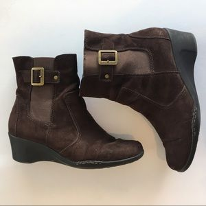 Aerosoles Bookstore Brown Suede Ankle Boots